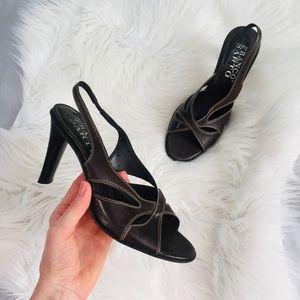 🔥Franco Sarto Brown Leather Peep Toe Heel